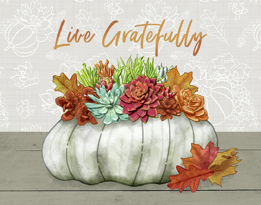 Live Gratefully Succulent Gray Pumpkin Arrangement by Jen Montgomery by Jen Montgomery