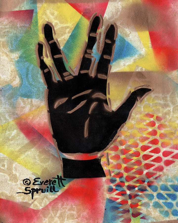 African Mask Mixed Media - Live Long and Prosper - B by Everett Spruill