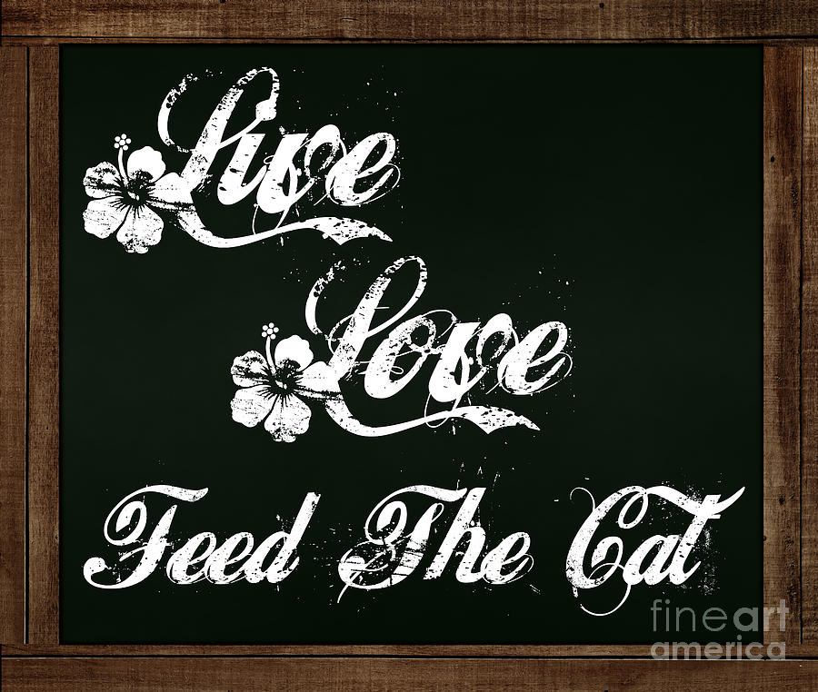 Live Love Feed The Cat - Chalkboard Messages by Colleen Cornelius