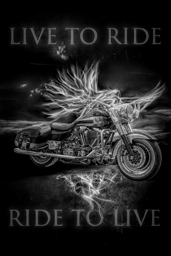 Indian Digital Art - Live To Ride, Ride To Live Black And White by Debra and Dave Vanderlaan