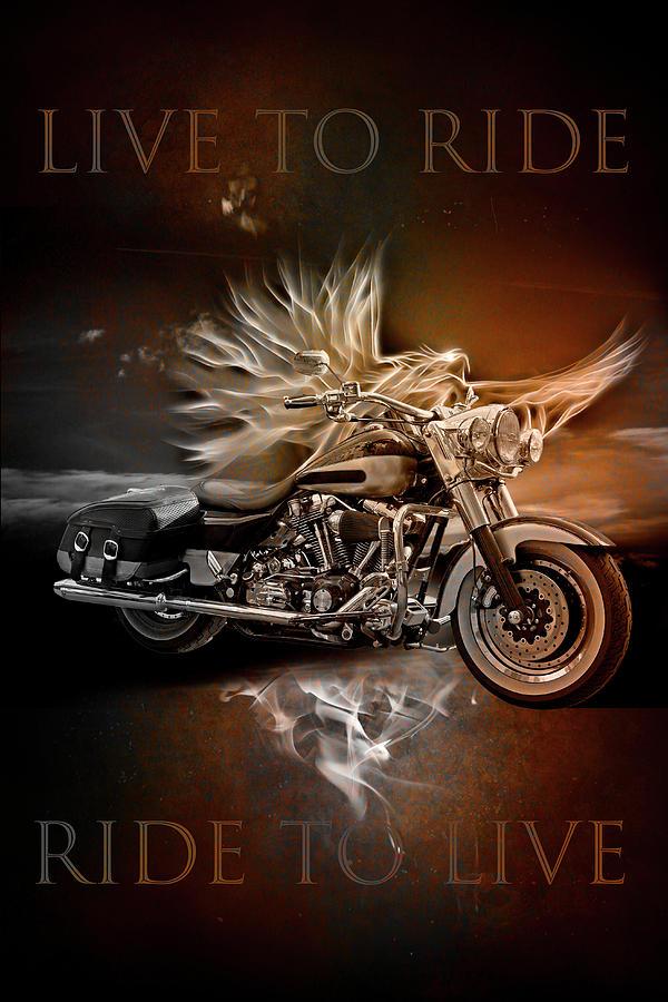 Live to Ride, Ride to Live in Vintage Tones by Debra and Dave Vanderlaan