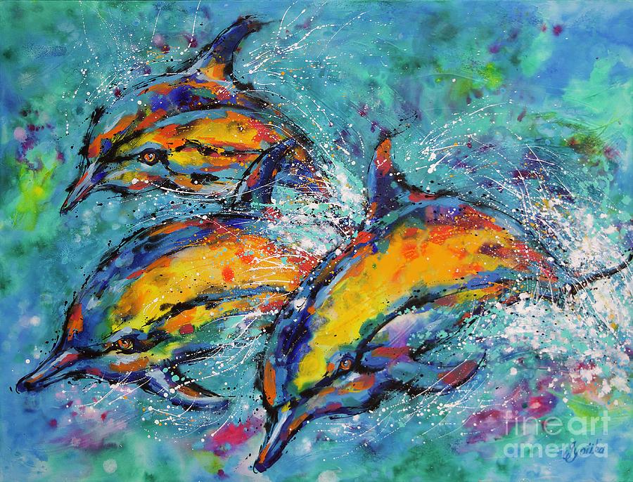 Joyful Dolphins by Jyotika Shroff