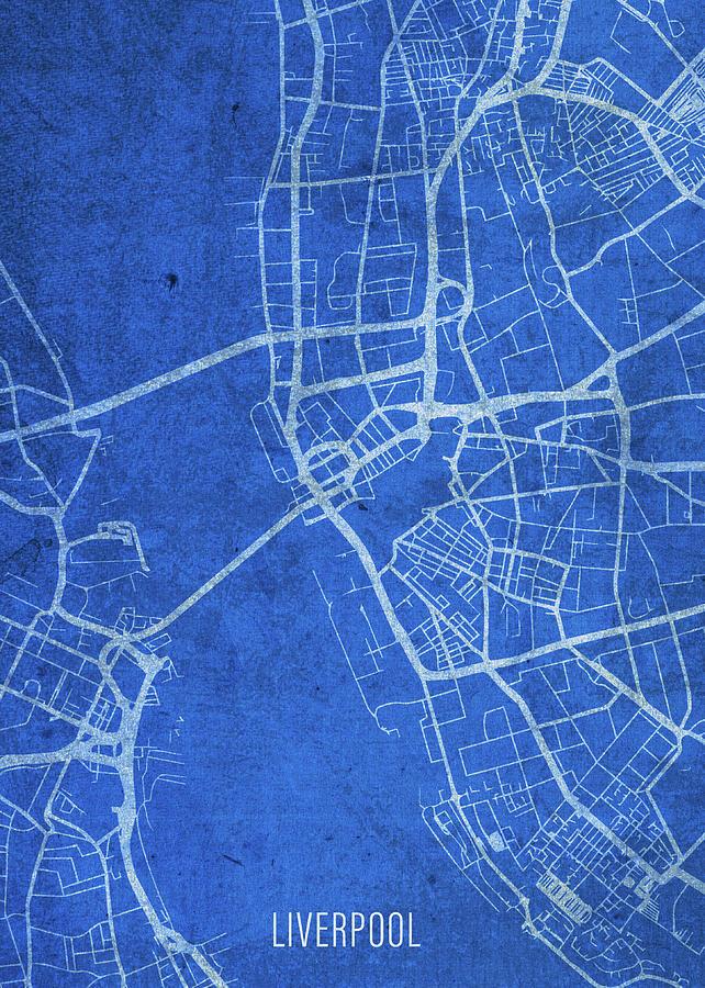 Liverpool England City Street Map Blueprints