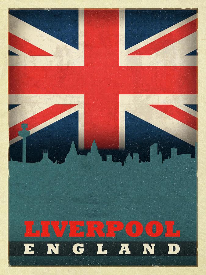 Liverpool England World City Flag Skyline Mixed Media By Design Turnpike