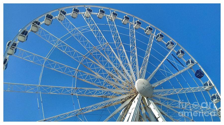 Liverpool Wheel Blue Sky 2 by Joan-Violet Stretch