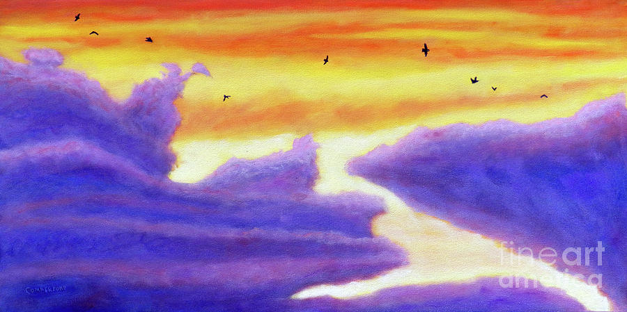 Sky Painting - Living In The Sky by Brian  Commerford