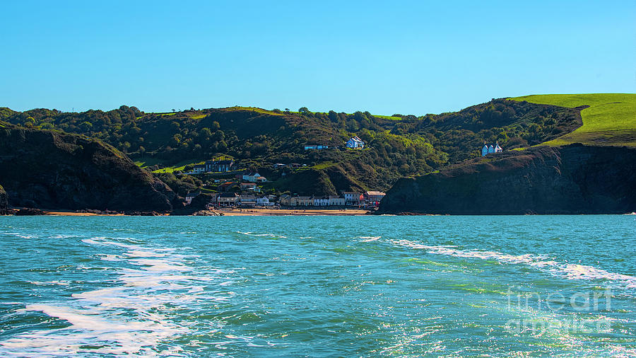 Llangrannog from The sea. by Chris Thaxter