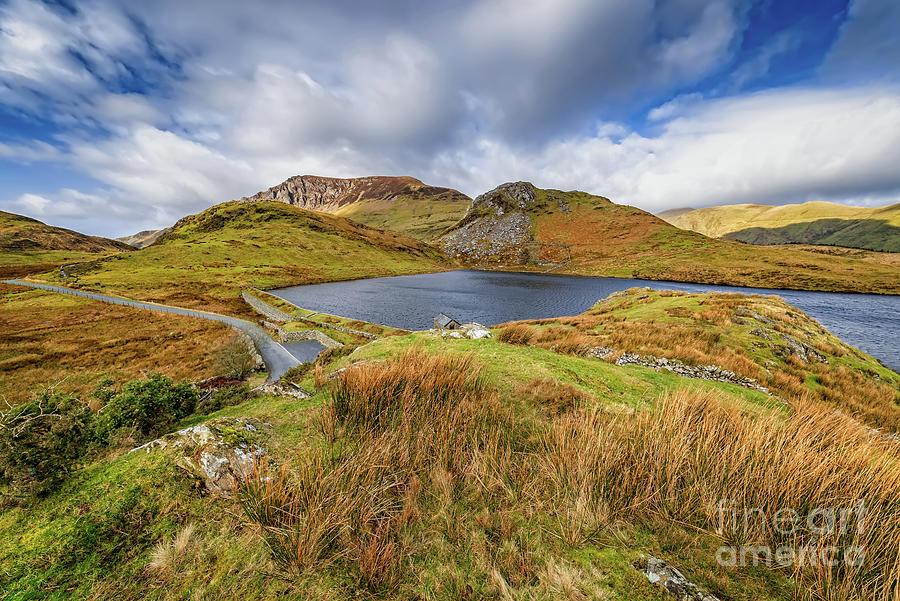 Llyn y dywarchen and Boathouse Snowdonia by Adrian Evans