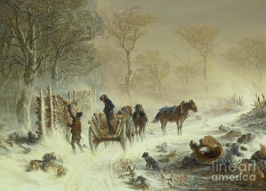 Snow Storm Painting - Loading Wood In The Snow, 1858  by Hermann Kauffmann