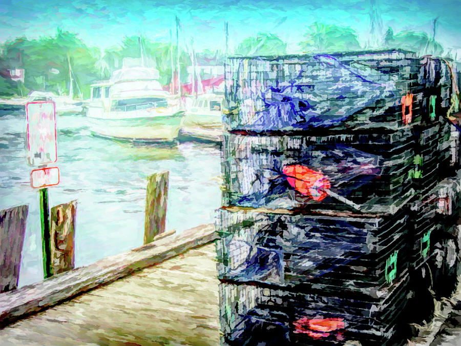 Lobster Traps on Dock by Barry Wills