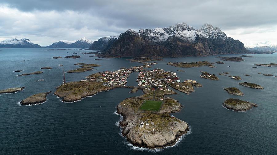 Aerial View Photograph - Lofoten Henningsvaer by Kai Mueller