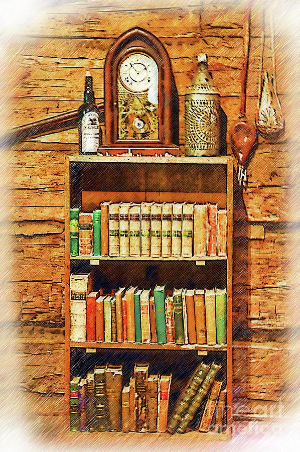 Sharlot Hall Museum Digital Art - Log Cabin Book Case Sketched by Kirt Tisdale