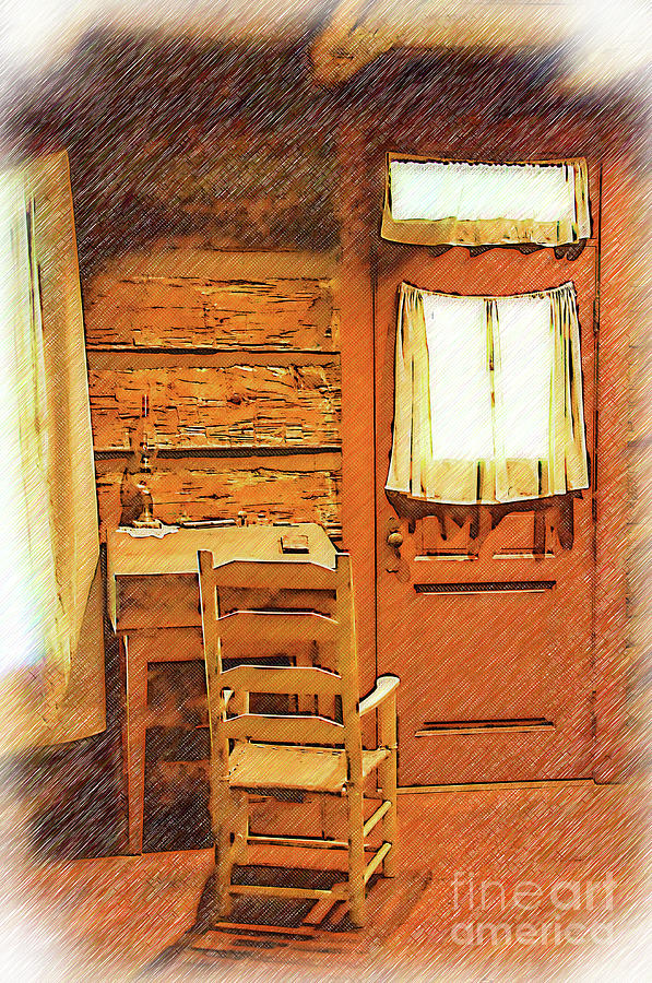 Log Cabin Desk, Chair and Door by Kirt Tisdale