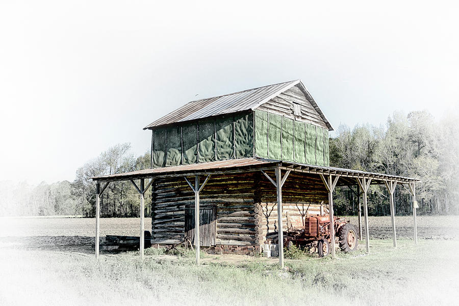 Log Tobacco Barn and Tractor #2666 by Susan Yerry