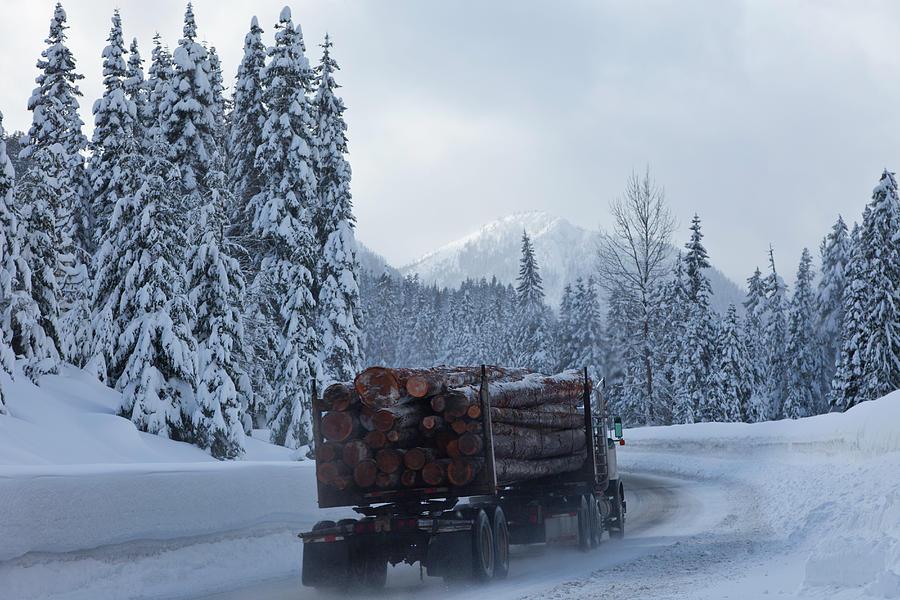 Logging Truck In Winter Photograph by Steve Satushek