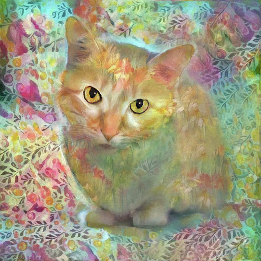 Lola the Ginger and White Tabby Cat by Peggy Collins