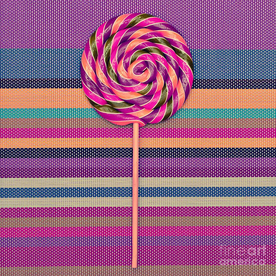 Candy Photograph - Lollipop On Bright Striped Background by Evgeniya Porechenskaya