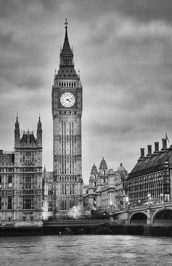 London, Big Ben, Black And White Photograph by Elisabeth Pollaert Smith