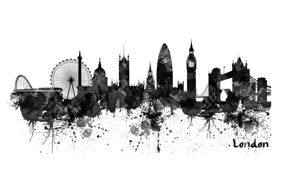 London Black And White Watercolor Skyline Silhouette ... |London Skyline Wallpaper Black White