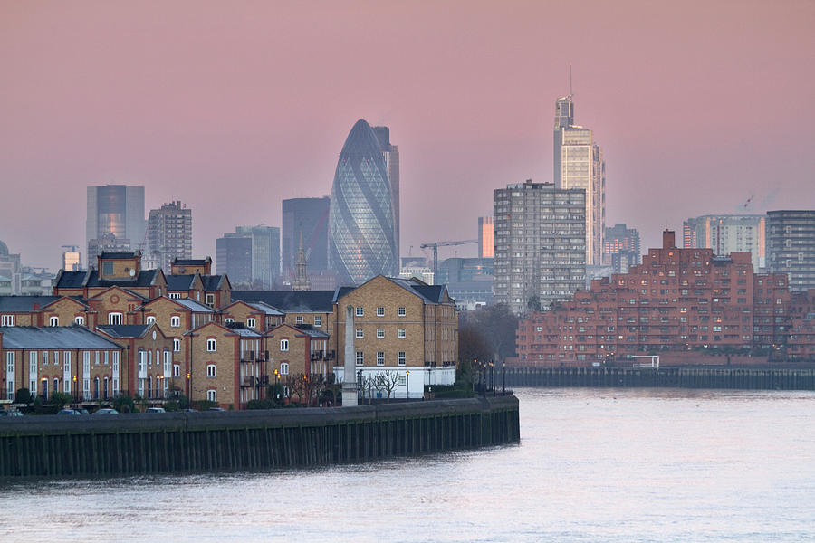 Canary Wharf Photograph - London City View Down Thames by Sarahb Photography