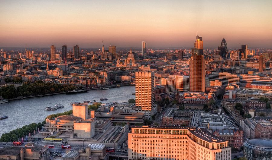London Cityscape At Sunset Photograph by Michael Lee