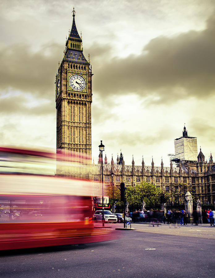 London Double Decker Bus Near Big Ben Photograph by Filippobacci