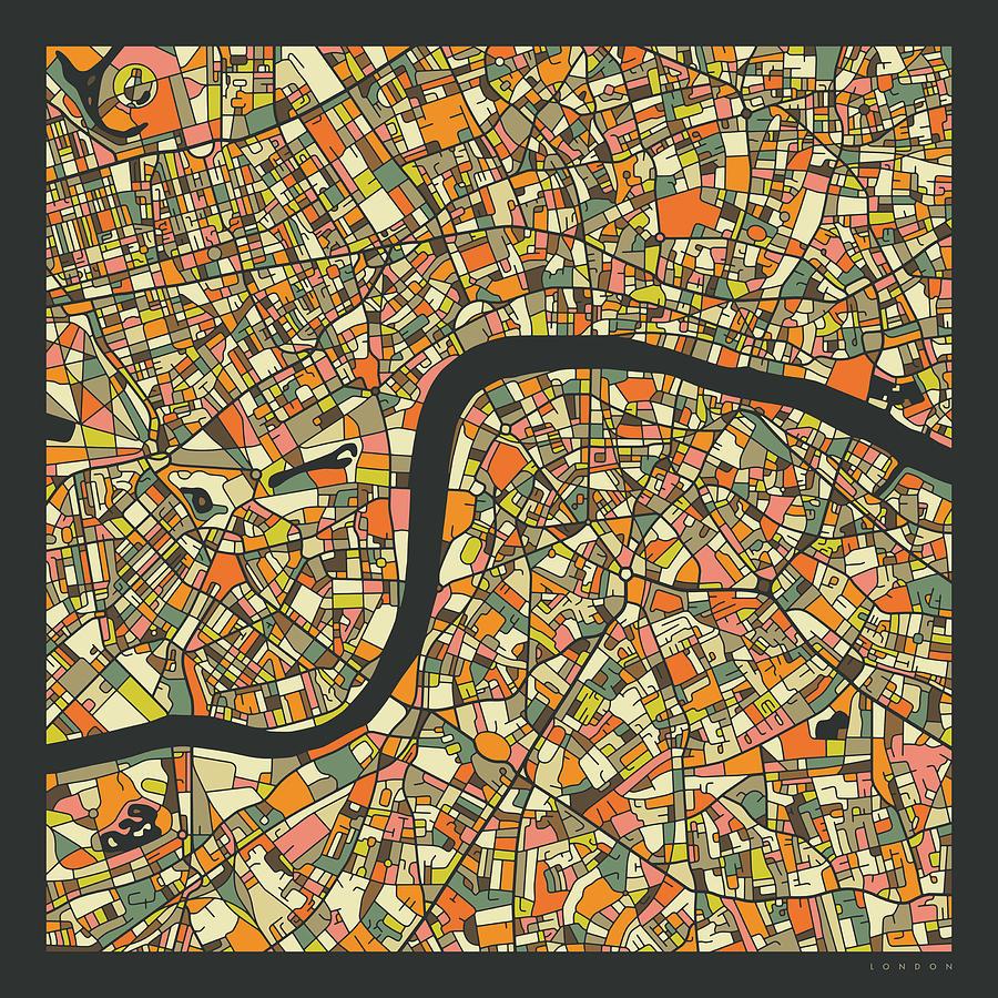 London Digital Art - London Map 2 by Jazzberry Blue