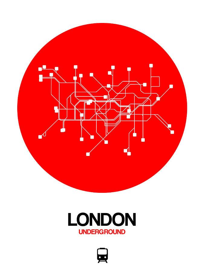 England Digital Art - London Red Subway Map by Naxart Studio