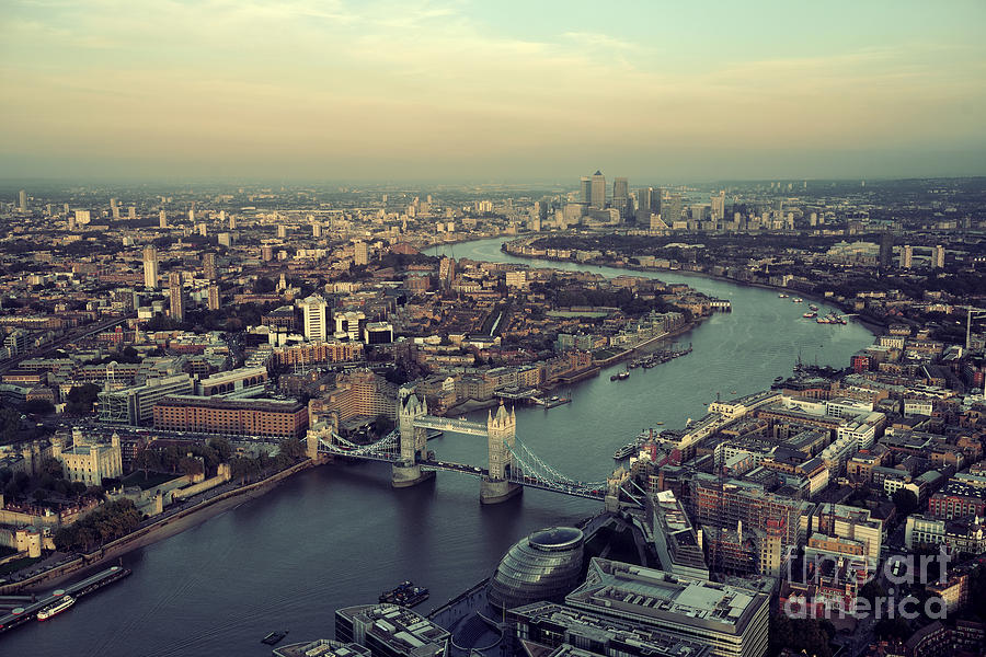 Sunrise Photograph - London Rooftop View Panorama At Sunset by Songquan Deng