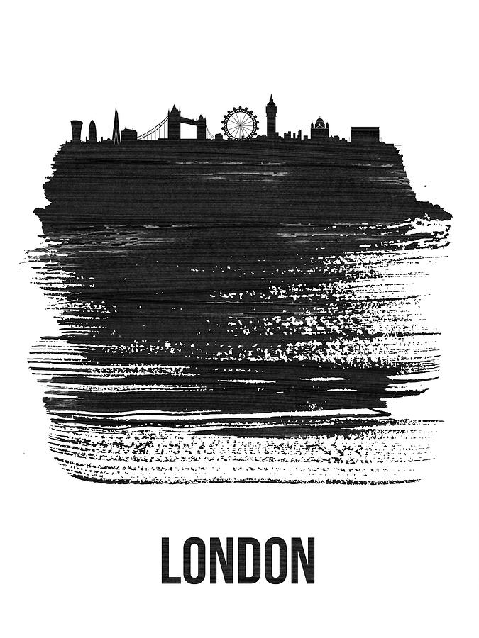 London Mixed Media - London Skyline Brush Stroke Black by Naxart Studio