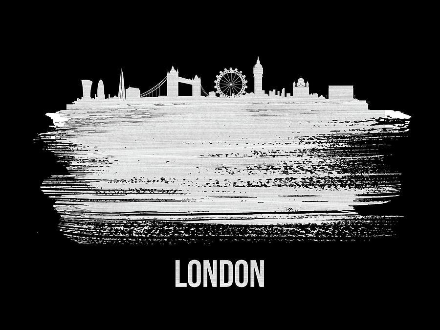 London Mixed Media - London Skyline Brush Stroke White by Naxart Studio