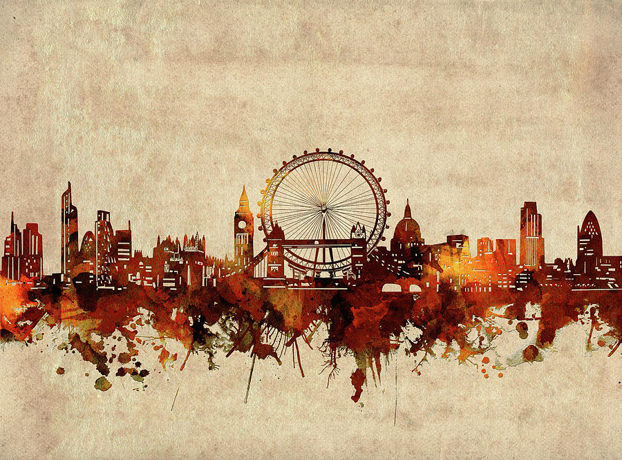 London Digital Art - London Skyline Sepia by Bekim M