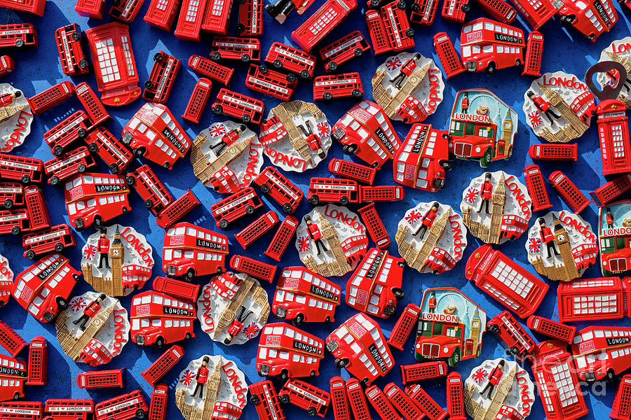 London Souvenir Fridge Magnets Pattern by Tim Gainey