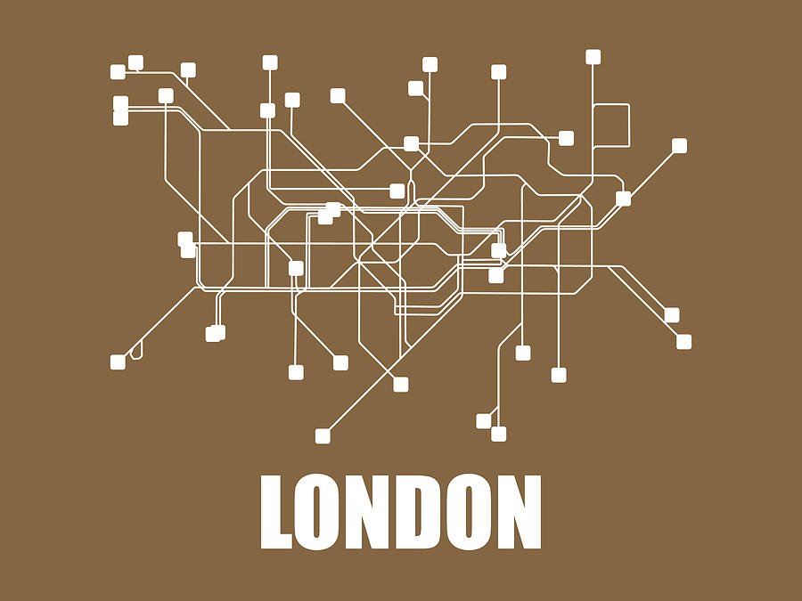 London Digital Art - London Subway Map 2 by Naxart Studio