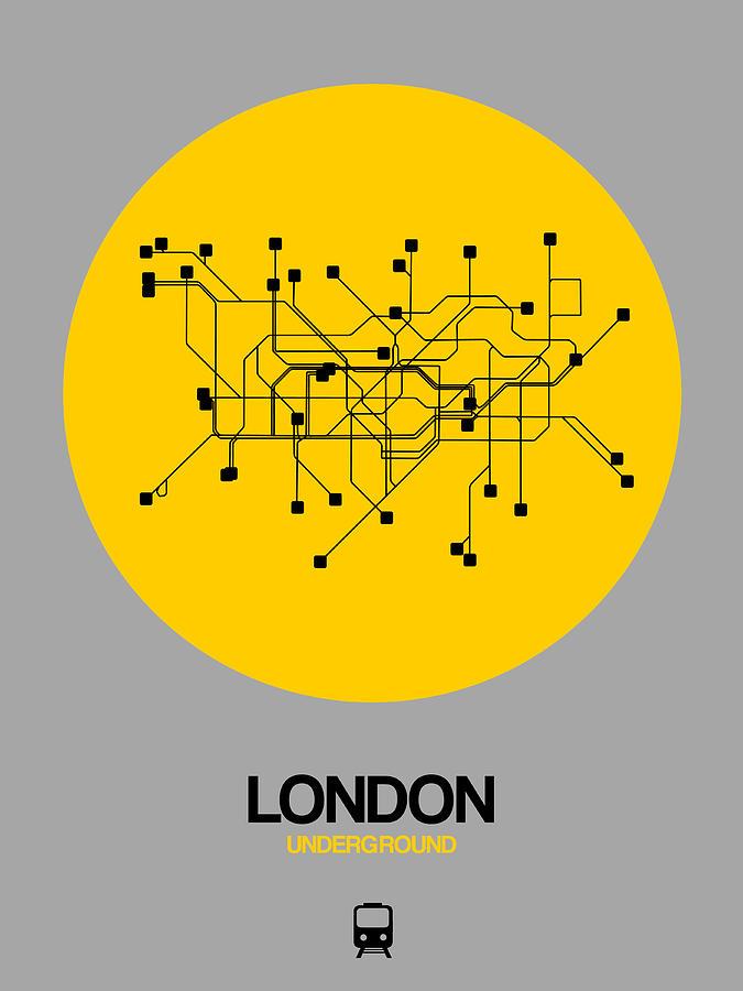 European Cities Photograph - London Yellow Subway Map by Naxart Studio