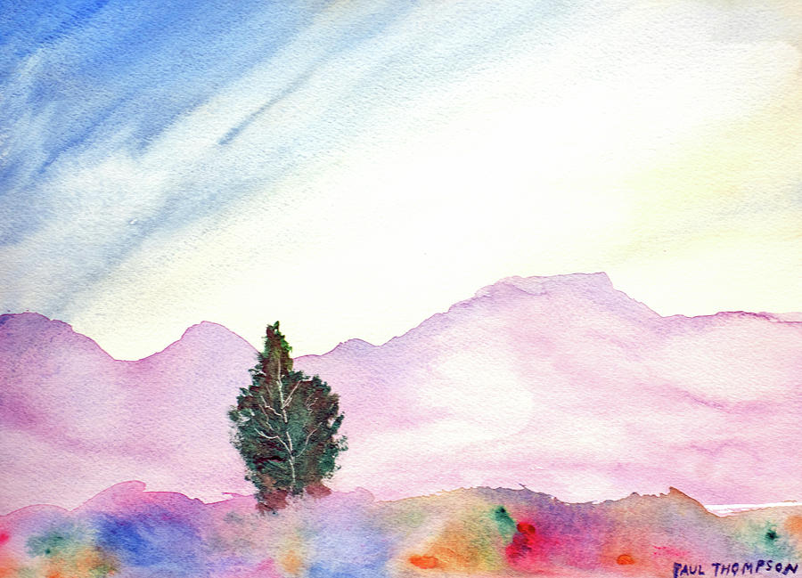 Lone Tree in a Valley - Abstract by Paul Thompson