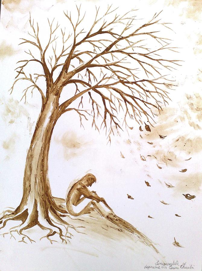 Loneliness And Depression Coffee Painting Painting by ...