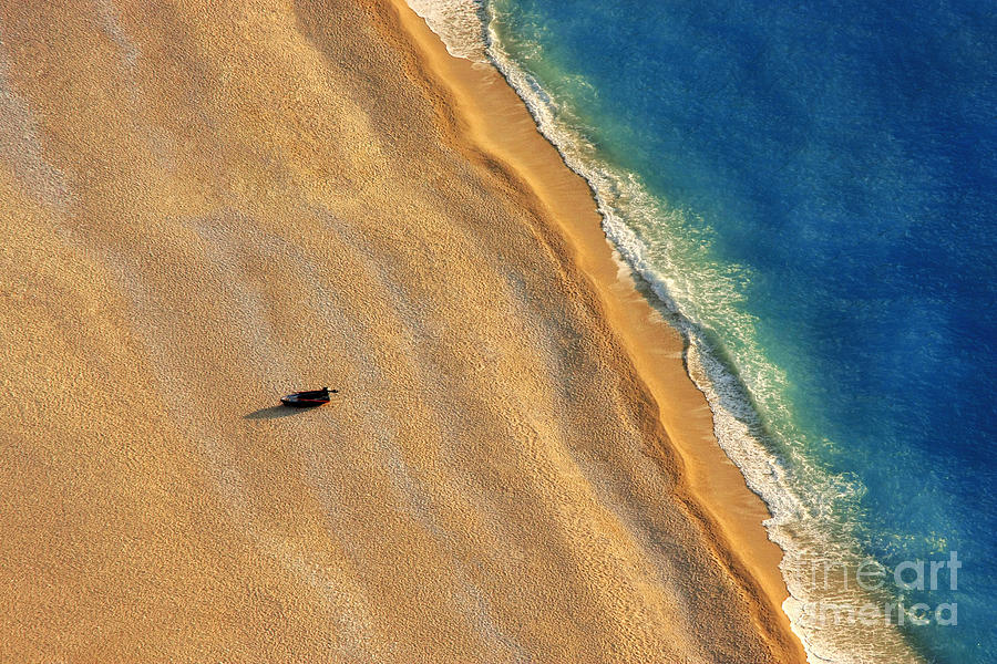 No Photograph - Lonely Boat On A Beach With Aerial View by Astrostar