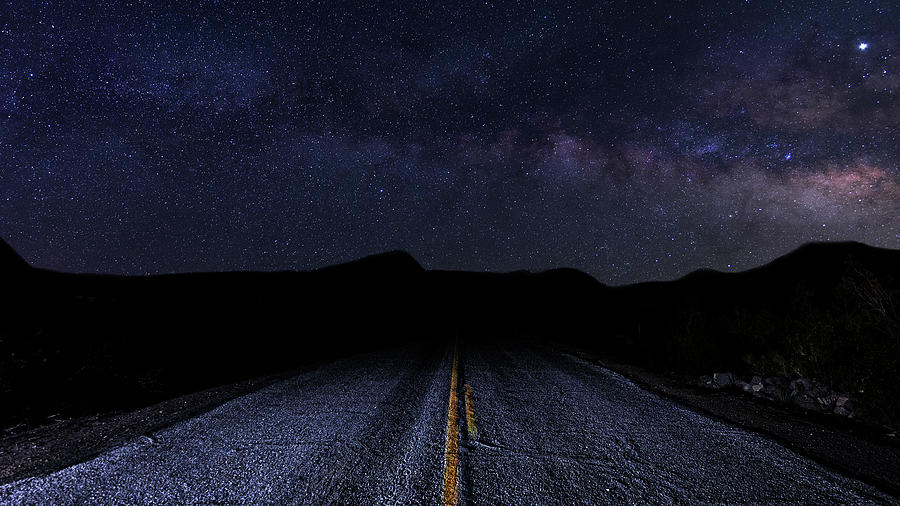 lonely Desert Road on a Starry Desert Night  by James Sage