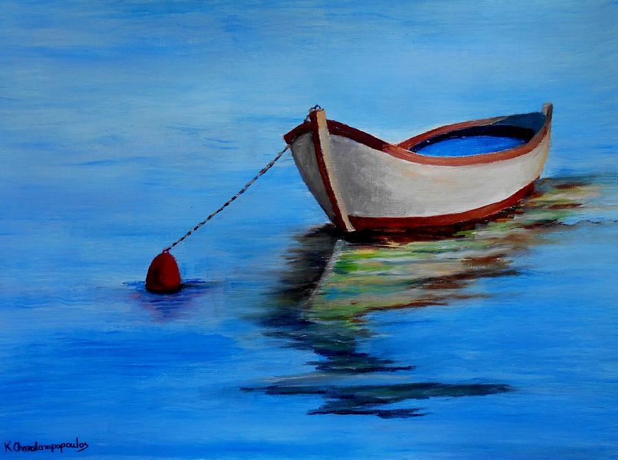 Lonely Fishing Boat Painting