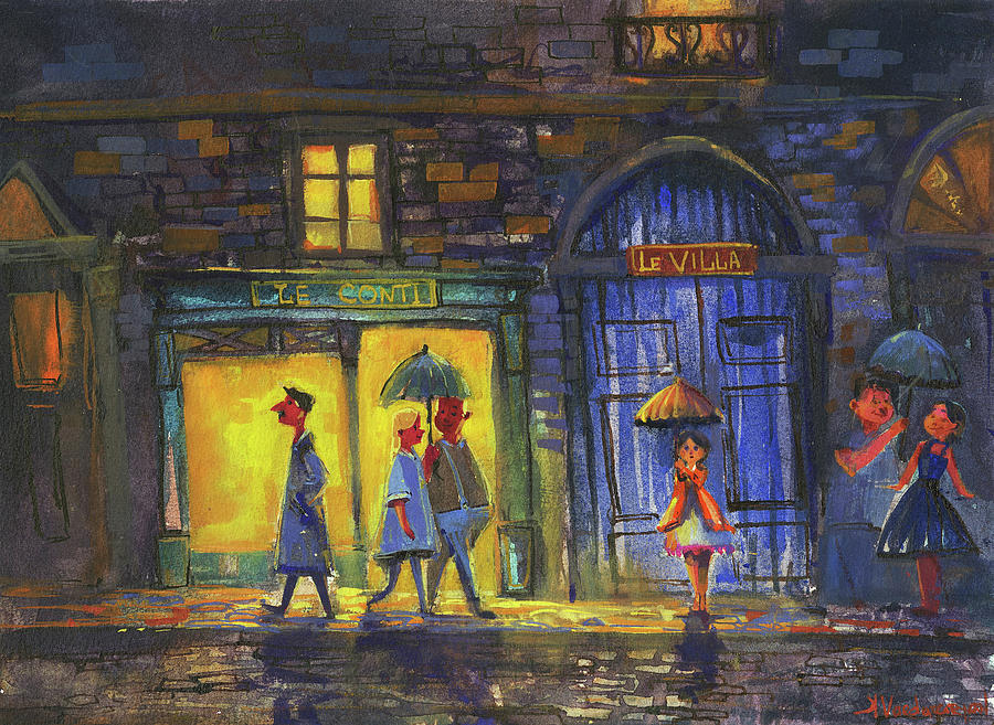Watercolors Painting - Lonely Night Out by Kristina Vardazaryan
