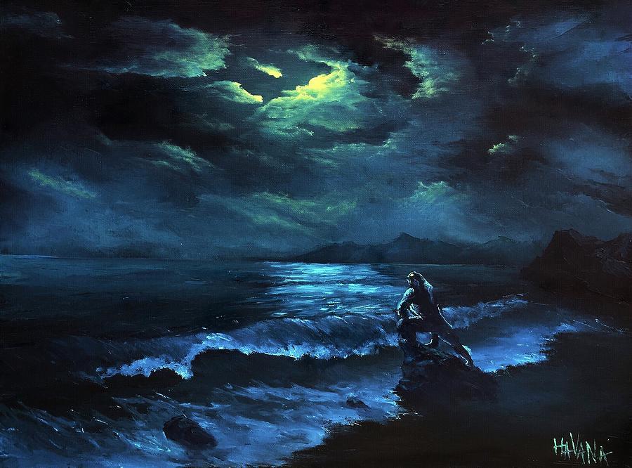 Cthulhu Painting - Lonely night by Valentine Kulakov