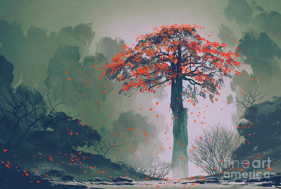 Forest Digital Art - Lonely Red Autumn Tree With Falling by Tithi Luadthong