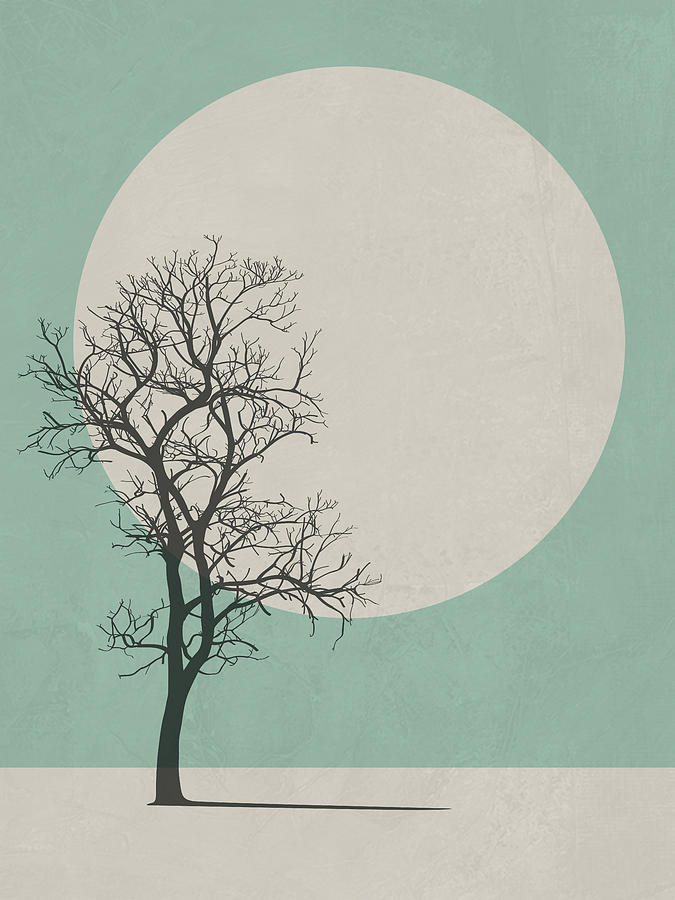 Botanical Digital Art - Lonely Tree I by Naxart Studio