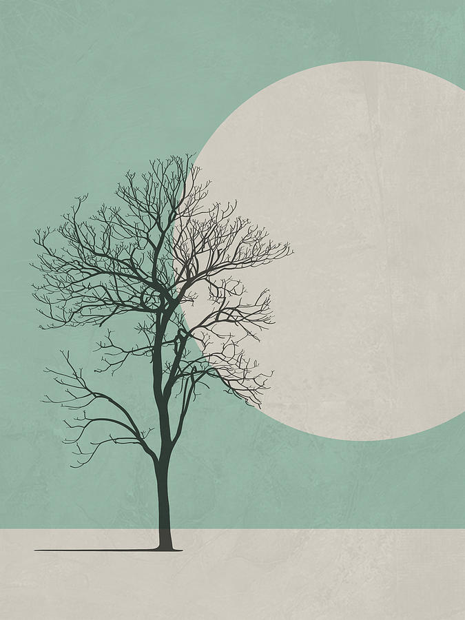 Botanical Digital Art - Lonely Tree by Naxart Studio