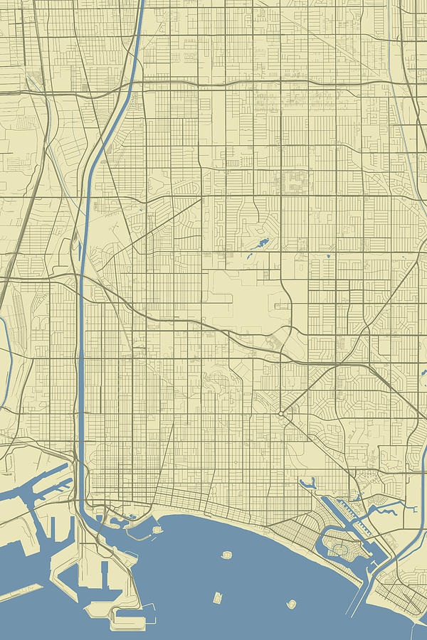 Long Beach California Usa Classic Map