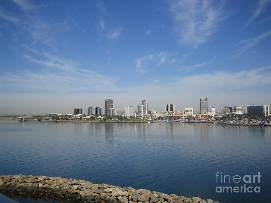 Long Beach Harbor Panoramic Waterfront View Southern California Blue Sky Day View by John Shiron