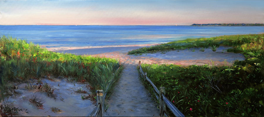 Cape Cod Painting - Long Beach Path- June, Evening by Jonathan Guy-Gladding JAG
