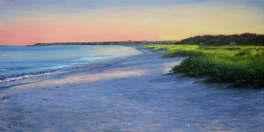 Cape Cod Painting - Long Beach, Sunset by Jonathan Guy-Gladding JAG