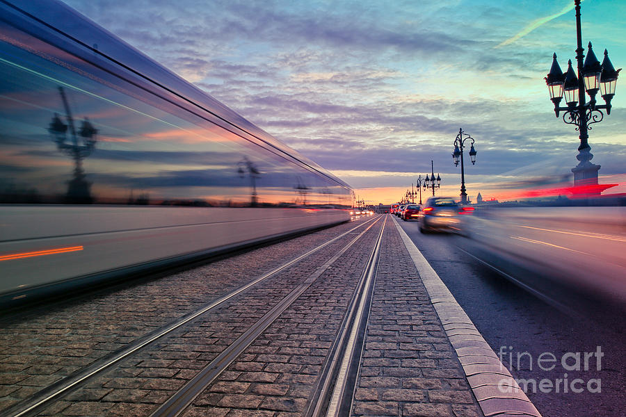 Bordeaux Photograph - Long Exposure Of A Tram Passing On The by Saranya33